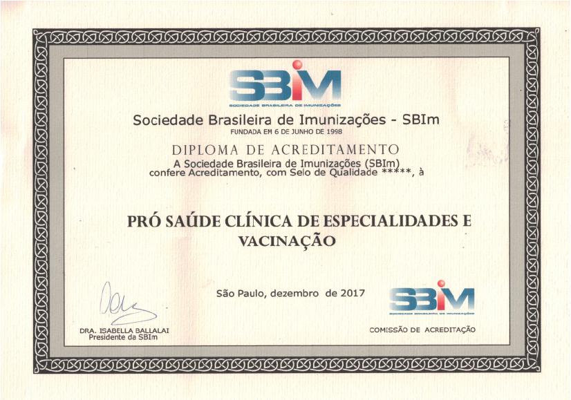 Diploma SBim Clínica Pró-Saúde